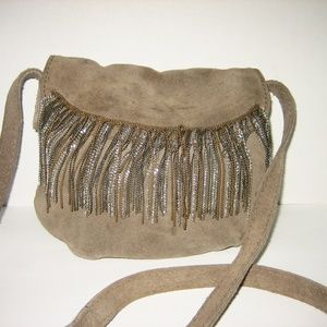 LUCKY BRAND Taupe Suede & Fringe Crossbody Bag